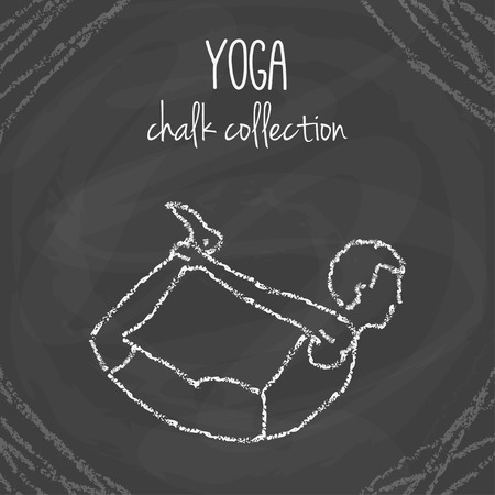 asanas: Vector yoga poses. Chalk asana illustrations on blackboard. International yoga day. Illustration