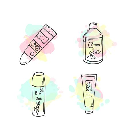 illustrazione cosmetici biologici. Vettore di cosmetici bottiglie. articoli per la cura della pelle Doodle. Hand drawn set. lozione a base di erbe. Crema Bio. Le donne costituiscono icone.