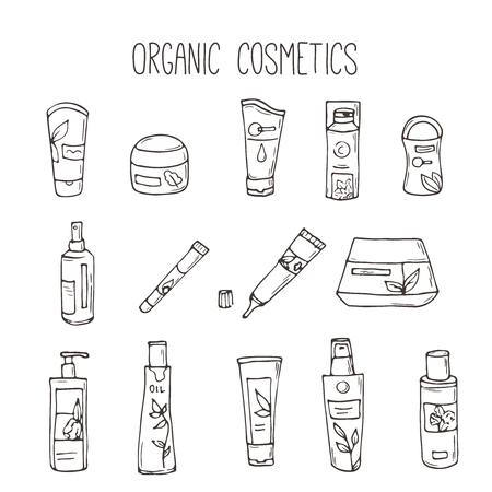 Vector cosmetic bottles. Organic cosmetics illustration. Doodle skin care items. Herbal hand drawn set. Spa elements in sketchy style. Bio cream. Women make up icons. 向量圖像
