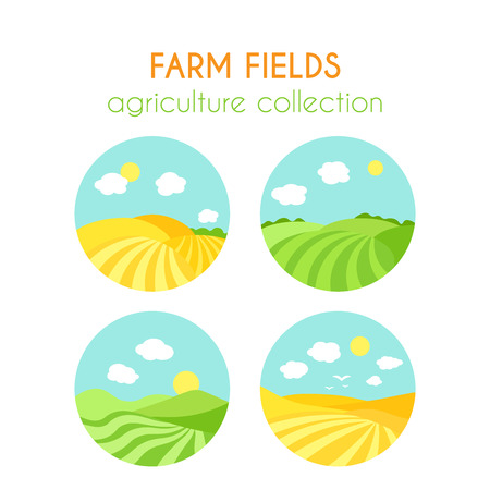 sowing: Set of farm fields landscapes. Round badges with crop in field. Cartoon green field of sowing. Summer scene with hills and land. Flat argiculture collection. Illustration