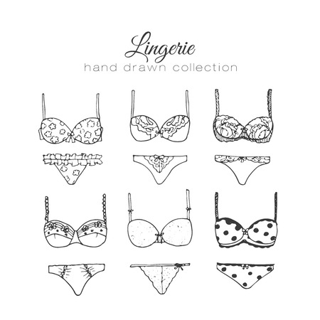 underclothing: Vector lingerie set. Sexy underwear design. Outline hand drawn illustration. Bras and panties doodle. Fashion feminine collection.