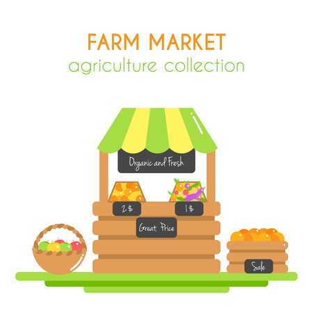 Farm market illustration. Vector stall with fruits and veggies. Stand with organic food. Farm fresh vegetables. Vegan store. Flat argiculture collection.