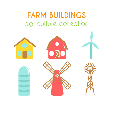 Farm buildings illustrations. Farmer house and granary. Cowshed and windmill. Wind power turbine design. Cartoon farm elements. Flat argiculture collection. Illustration