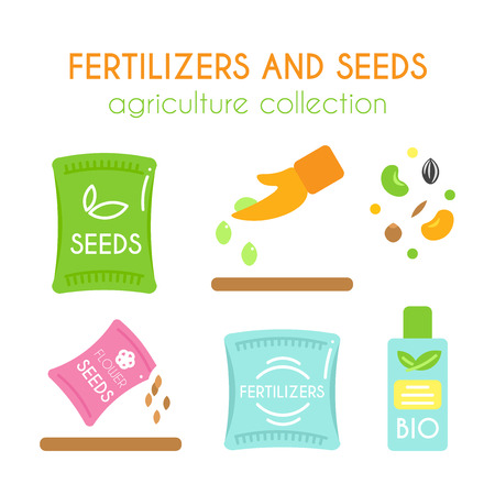 fertilize: Vector fertilizer illustrations. Seeds pack design. Bottle of bio fertilizers. Corn and grain elements. Hand sowing flower seed. Flat argiculture collection.