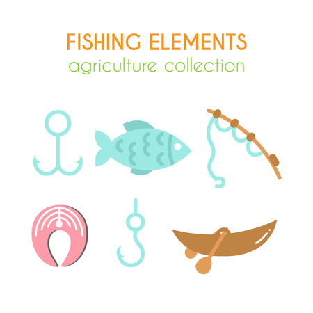 salmon steak: Vector fishing elements. Boat with paddles illustration. Hooks for fish. Salmon steak. Fishing rod in cartoon style. Flat argiculture collection. Illustration