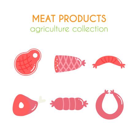 Productos cárnicos vector illustartions. Embutidos y jamón de diseño. rebanada de dibujos animados de carne. conjunto de barbacoa. Carne de cerdo y carne de vacuno elementos. colección agricultura plana. Foto de archivo - 61228774