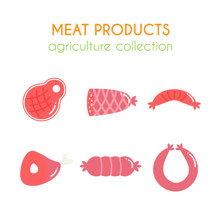 raw chicken: Vector meat products illustartions. Sausages and ham design. Cartoon slice of steak. Barbecue set. Pork and beef meat elements. Flat argiculture collection. Illustration