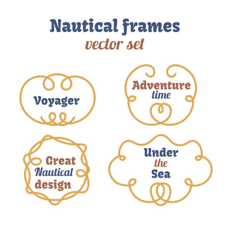 voyager: Nautical frames set. Ropes swirls. Decorative vector knots. Ornamental decor elements with rope. Isolated design. Frame for your text Illustration