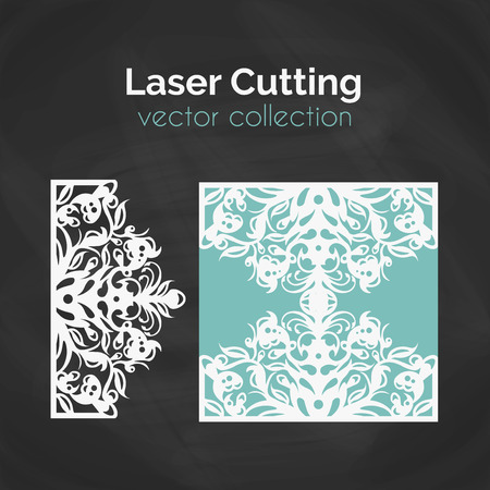lazer: Laser Cut Card. Template For Laser Cutting. Cutout Illustration With Abstract Decoration. Die Cut Wedding Invitation Card. Vector envelope design.