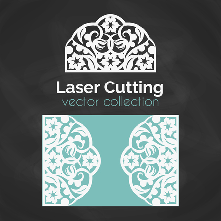 Laser Cut Card. Template For Laser Cutting. Cutout Illustration With Floral Ornament. Die Cut Wedding Invitation Card. Vector Envelope design.
