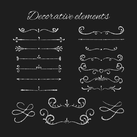 silvery: Silvery flourishes. Silver text dividers set. Ornamental decorative elements. Vector ornate design. Shiny decorative hand drawn borders with glitter effect. Calligraphic decorations with sparkles. Illustration