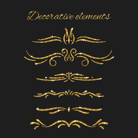 gold ornaments: Ornamental decorative elements. Gold text dividers set. Vector ornate design. Golden flourishes. Shiny decorative hand drawn borders with glitter effect. Calligraphic decorations with sparkles.