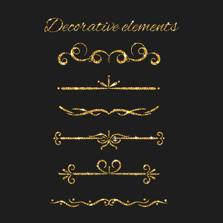 argent: Vector ornate design. Gold text dividers set. Ornamental decorative elements. Golden flourishes. Shiny decorative hand drawn borders with glitter effect. Calligraphic decorations with sparkles. Illustration