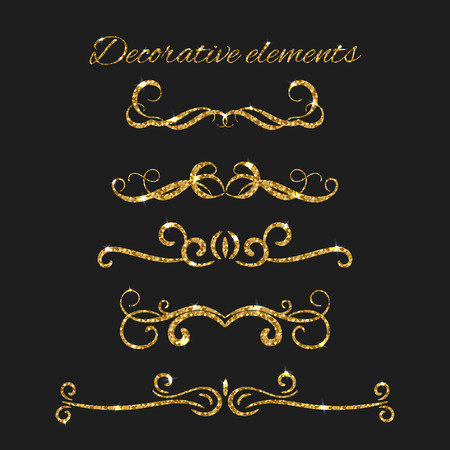 argent: Text dividers set with gold. Ornamental decorative elements. Vector ornate design. Golden flourishes. Shiny decorative hand drawn borders with glitter effect. Calligraphic decorations with sparkles. Illustration
