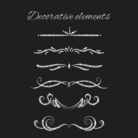 argent: Silver text dividers set. Ornamental decorative elements. Vector ornate design. Silvery flourishes. Shiny decorative hand drawn borders with glitter effect. Calligraphic decorations with sparkles.