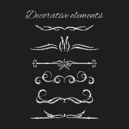 silvery: Silver text dividers set. Ornamental decorative elements. Vector ornate design. Silvery flourishes. Shiny decorative hand drawn borders with glitter effect. Calligraphic decorations with sparkles.