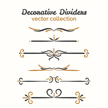 Flourish elements. Hand drawn dividers set. Ornamental decorative element. Vector ornate design. Text divider collection. Vektorové ilustrace