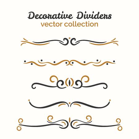 decorative line: Flourish elements. Hand drawn dividers set. Ornamental decorative element. Vector ornate design. Text divider collection.