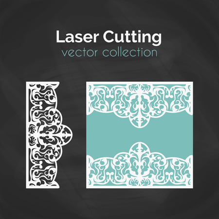 cutting: Laser Cut Card. Template For Laser Cutting. Cutout Illustration With Abstract Decoration. Die Cut Wedding Invitation Card. Vector Envelope Design.