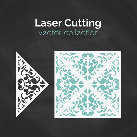 laser cutting: Laser Cut Card. Template For Laser Cutting. Cutout Illustration With Abstract Decoration. Die Cut Wedding Invitation Card. Vector Envelope Design.