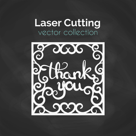 Laser Cutting Template. Thank You Laser Cut Card. Cutout Illustration With Abstract Decoration. Die Cut Greeting Card. Vector Design.