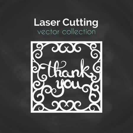 laser cutting: Plantilla de corte por l�ser. Gracias tarjeta de corte por l�ser. Con el recorte Ilustraci�n abstracta de la decoraci�n. Die Cut tarjeta de felicitaci�n. Dise�o del vector. Vectores