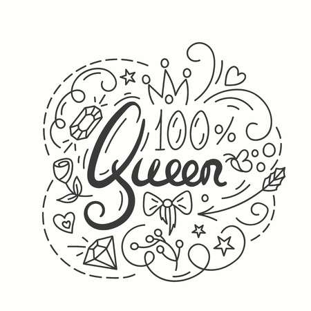 beauty pageant: Queen Typography Design. Lettering print for t-shirt design in line art style. Lovely greeting card. Vector illustration with modern calligraphy. Illustration