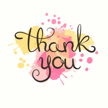 Thank you card. Hand drawn lettering design. Greeting card with paint splashes. Vector illustration. Moder calligraphy.