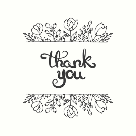 moder: Thank you card. Hand drawn lettering design. Greeting card with ornamental flowers. Sketchy style. Vector illustration. Moder calligraphy.