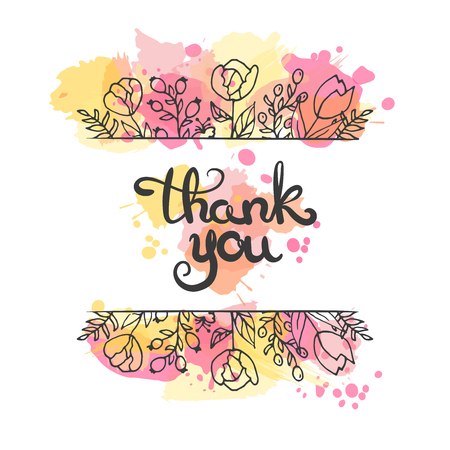 moder: Thank you card. Hand drawn lettering design. Greeting card with ornamental flowers on paint splashes. Sketchy style. Vector illustration. Moder calligraphy.