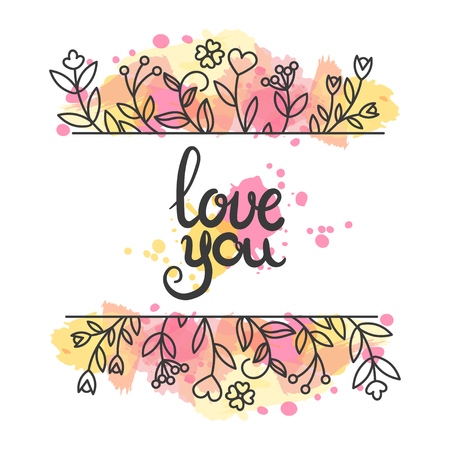 moder: Love card. Hand drawn lettering design. Floral greeting card with paint splashes. Lovely poster. Flowers in line art style. Vector illustration. Moder calligraphy. Illustration