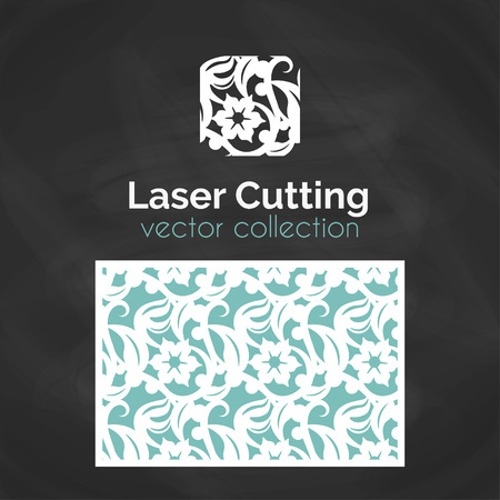 paper cutting: Laser Cut Card. Template For Laser Cutting. Seamless Pattern for Die Cut Wedding Invitation Card. Vector Cutout Illustration With Floral Ornament.