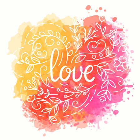 Love card. Hand drawn lettering design. Watercolor background. Floral greeting card with paint splashes. Lovely poster. Flowers in line art style. Vector illustration. Moder calligraphy.
