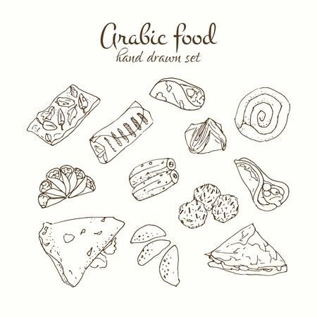 Arabic food vector set. Arabian cuisine illustration. Hand drawn delicious traditional meal design. Vector Illustration