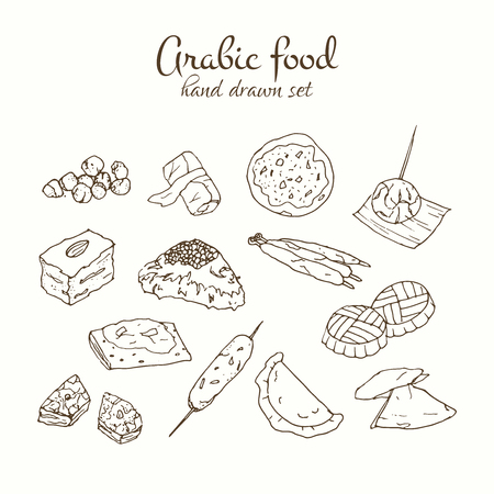 comida arabe: Arabic food vector set. Arabian cuisine illustration. Hand drawn delicious traditional meal design.
