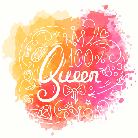 beauty pageant: Queen Typography Design. Lettering print for t-shirt design in line art style. Watercolor background. Lovely greeting card. Vector illustration with modern calligraphy.