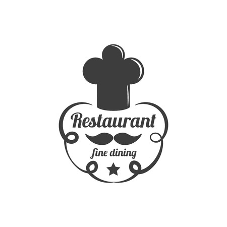 fine dining: Restaurant Label. Food Service Elements Isolated On White Background. Vector Illustration.