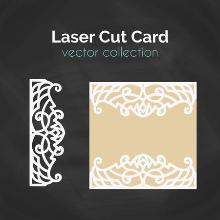レーザー カット レーザー切断のためのカード テンプレートです。抽象的な装飾と素材イラスト。封筒デザインを結婚式の招待カードのベクトルのカットを死にます。