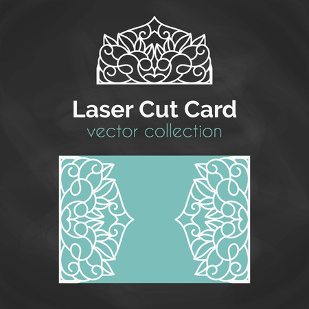 die: Laser Cut Card. Template For Laser Cutting. Cutout Illustration With Abstract Decoration. Die Cut Wedding Invitation Card. Vector envelope design.