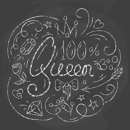 beauty pageant: Queen Typography Design. Lettering print for poster design in chalk style. Lovely greeting card. Vector illustration with modern calligraphy.
