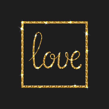 wishes romantic: Love Golden Text for Card. Modern brush calligraphy. Vector lettering design for poster. Romantic Shiny Gold Glitter Card. Valentines Day Wishes Illustration