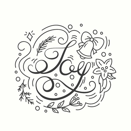 sylvester: Joy Card. Winter Holiday Typography. Handdrawn Lettering. Poster With Line Art Christmas Elements. Background with Seasonal Greetings. Illustration Banners and Print. Isolated vector design.