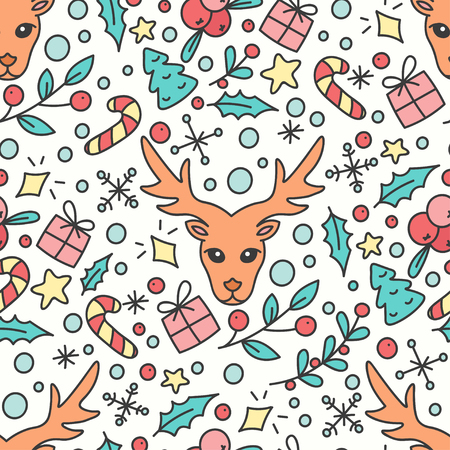 omela: Hand Drawn Christmas Seamless Pattern. New Year Background. Print with Christmas Presents and Deer. Winter Season Line Art Style Illustration. Vector design. Cartoon Omelas.