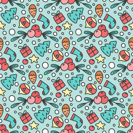 omela: Hand Drawn Christmas Seamless Pattern. New Year Background. Print with Christmas Tree and Presents. Winter Season Line Art Style Illustration. Vector design. Cartoon Omelas.