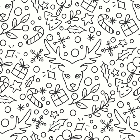 omela: Hand Drawn Winter Season Seamless Pattern. Print with Christmas Presents and Deer. New Year Background. Line Art Style Illustration. Vector design. Cartoon Omelas. Illustration