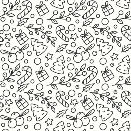 omela: Hand Drawn Winter Season Seamless Pattern. Print with Christmas Tree and Presents. New Year Background. Line Art Style Illustration. Vector design. Cartoon Omelas.