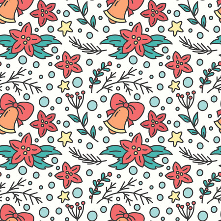 omela: Hand Drawn Christmas Seamless Pattern. New Year Background. Print with Poinsettia Flowers and Bells. Winter Season Line Art Style Illustration. Vector design.