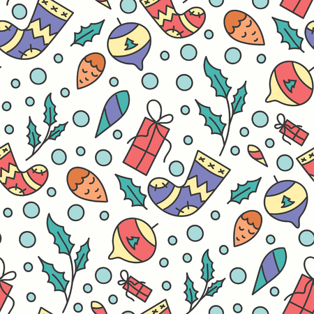 omela: Hand Drawn Christmas Seamless Pattern. New Year Background. Print with Christmas Toys and Presents. Winter Season Line Art Style Illustration. Vector design. Cartoon Omelas. Illustration