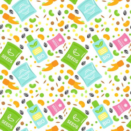 Seamless Pattern fertilizzante illustrazioni vettoriali. Semi Conf Design. Bottiglia di Bio fertilizzanti. Elementi mais e grano. Seed mano semina Fiore. Piatto Argiculture Collection.