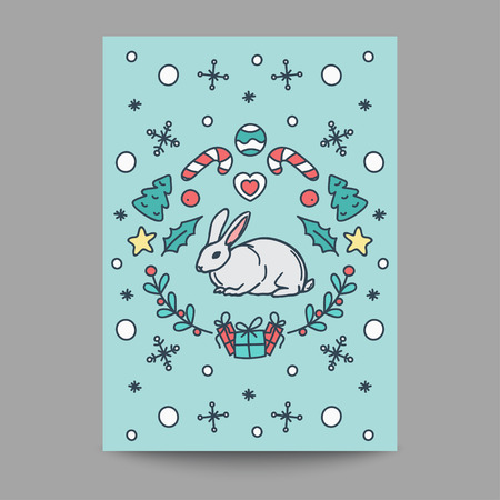 season's greeting: Christmas Card. New Year Poster. Rabbit Design on Turquoise Background. Line Art Style Vector Illustration. Greeting card for winter seasons.